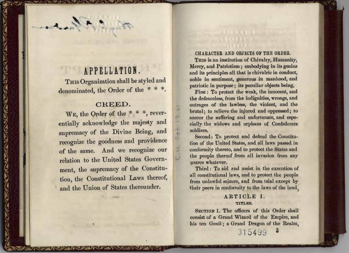 primary sources hist x edx appellation and creed ku klux klan revised and amended prescript of the order of the pulaski tenn 1868 from the rare book and manuscript